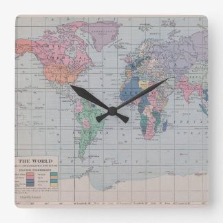 Vintage Map of The World Clock