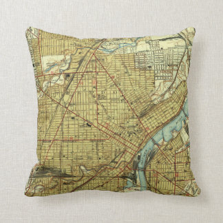 Vintage Map of Toledo Ohio (1938) Throw Pillow