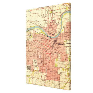 Vintage Map of Topeka Kansas (1951) Canvas Print