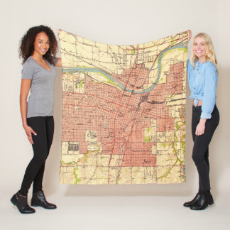 Vintage Map of Topeka Kansas (1951) Fleece Blanket