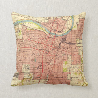 Vintage Map of Topeka Kansas (1951) Throw Pillow