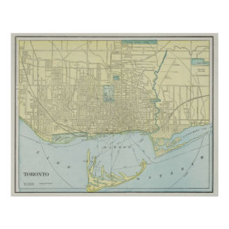 Vintage Map of Toronto (1901) Poster