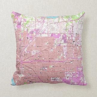 Vintage Map of Tulsa Oklahoma (1954) Throw Pillow