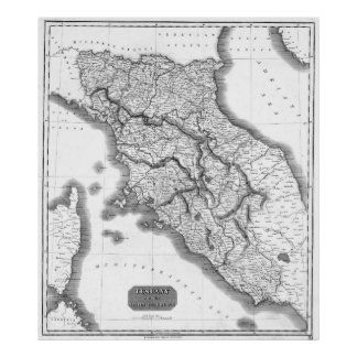 Vintage Map of Tuscany Italy (1814) BW Poster