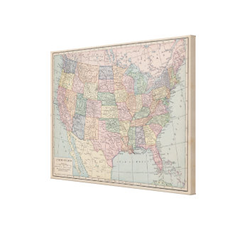 Vintage Map of United States on Canvas