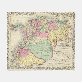 Vintage Map of Venezuela, Ecuador, Colombia (1855) Fleece Blanket