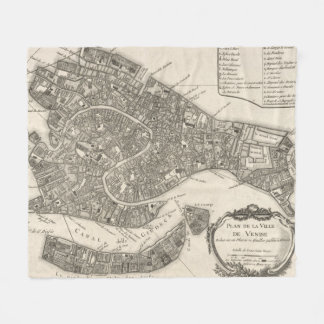Vintage Map of Venice Italy (1764) Fleece Blanket
