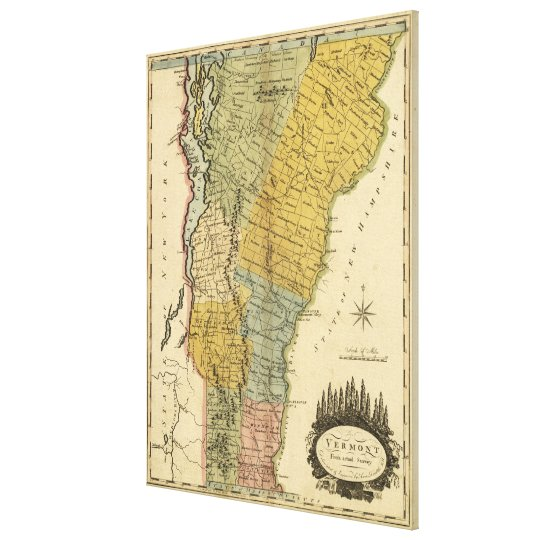 Vintage Map of Vermont (1814) Canvas Print
