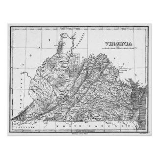 Vintage Map of Virginia (1827) BW Poster