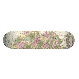 Vintage Map of Virginia (1838) Skate Board