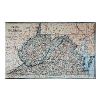 Vintage Map of Virginia and West Virginia (1921) Poster