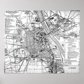 Vintage Map of Warsaw Poland (1914) BW Poster
