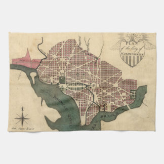 Vintage Map of Washington D.C. (1793) Kitchen Towel