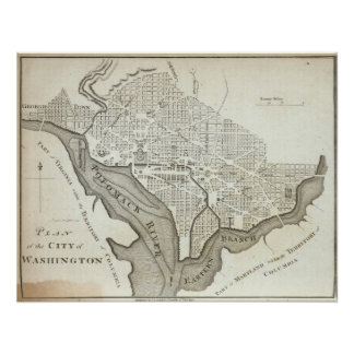 Vintage Map of Washington D.C. (1794) Poster
