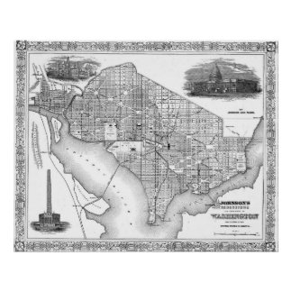 Vintage Map of Washington D.C. (1866) BW Poster