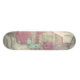 Vintage Map of Washington D.C. (1866) Skate Board Decks