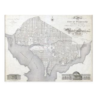 Vintage Map of Washington DC Postcard