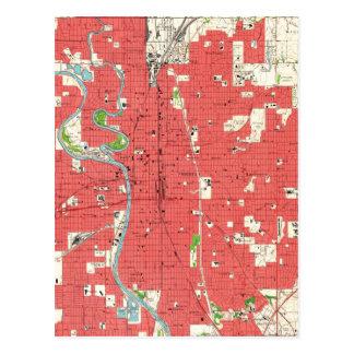Vintage Map of Wichita Kansas (1961) Postcard