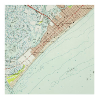 Vintage Map of Wildwood NJ (1955) Poster