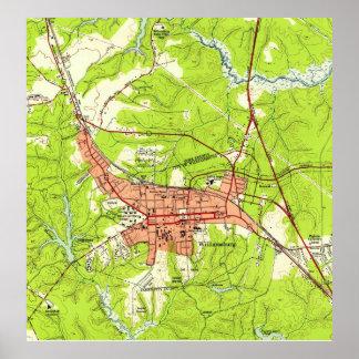 Vintage Map of Williamsburg Virginia (1952) Poster