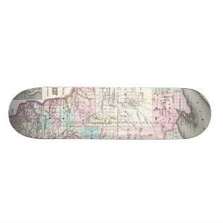 Vintage Map of Wisconsin (1855) Skateboard Decks