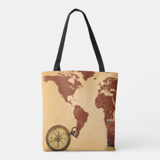 Vintage Map of World Print Tote Bag