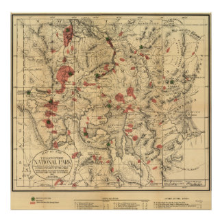 Vintage Map of Yellowstone National Park (1881) Poster