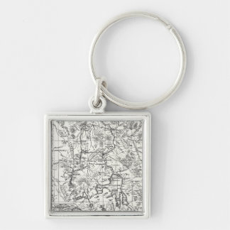 Vintage Map of Yellowstone National Park Keychain