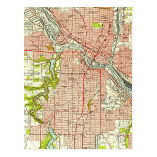 Vintage Map of Youngstown Ohio (1951) Postcard