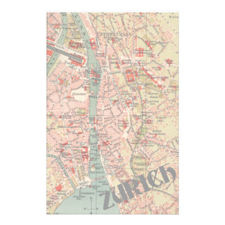 Vintage Map of Zurich Customized Stationery