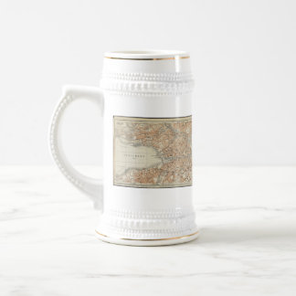 Vintage Map of Zurich Switzerland (1913) Beer Stein