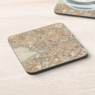 Vintage Map of Zurich Switzerland (1913) Beverage Coaster