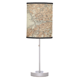 Vintage Map of Zurich Switzerland (1913) Table Lamps