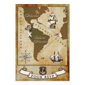 Vintage Map Pirate Birthday Party RSVP Cards
