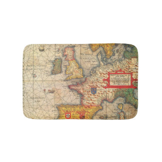 Vintage Map Print Bath Mat