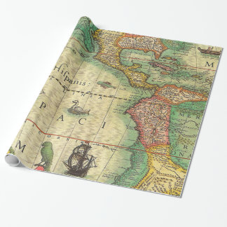 Vintage Map Print Wrapping Paper