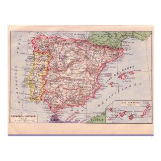Vintage map, Spain,  circa 1920 Postcard