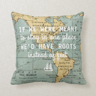 Vintage Map Travel Quotes Throw Pillow