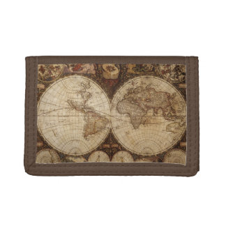 Vintage Map Trifold Wallets
