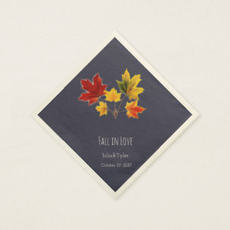 Vintage maple leaves- fall in love paper napkin