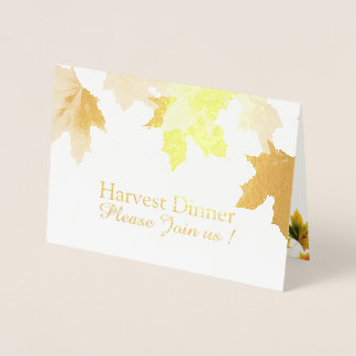 vintage maple leaves - Thanksgiving invitation