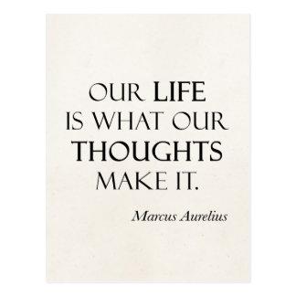 Vintage Marcus Aurelius Life Thoughts Make Quote Postcard