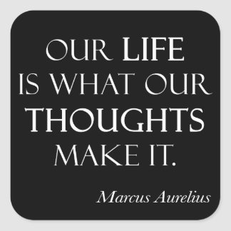 Vintage Marcus Aurelius Life Thoughts Make Quote Square Sticker