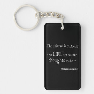 Vintage Marcus Aurelius Universe Change Life Quote Single-Sided Rectangular Acrylic Keychain