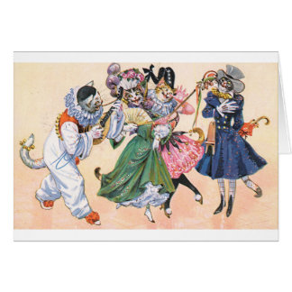 Vintage - Mardi Gras Cats, Card