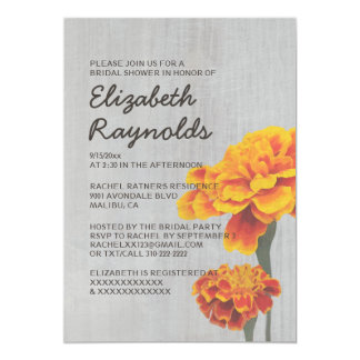 Vintage Marigolds Bridal Shower Invitations