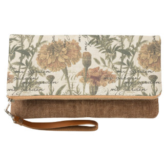 Vintage marigolds Cinnamon Fold-Over Clutch