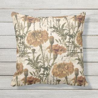 "Vintage marigolds Outdoor  Throw Pillow 16"" x 16"""