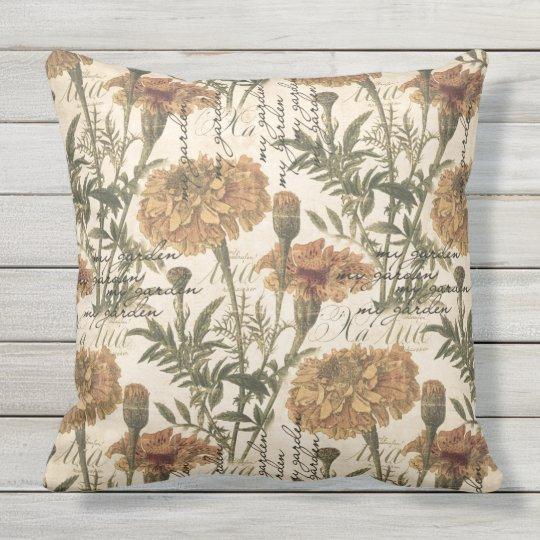 "Vintage marigolds Outdoor Throw Pillow 20"" x 20"""