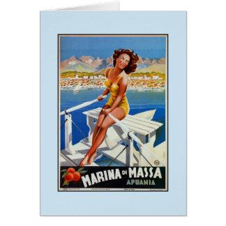 Vintage Marina di Massa Italian travel advertising Card